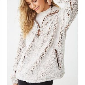 Faux Shearling Quarter Zip Pullover